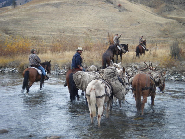 Crossing Big Creek on Horseback